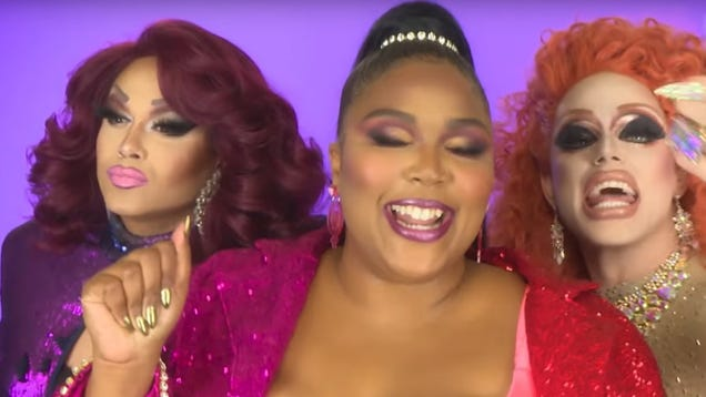 "Lizzo and RuPaul's Drag Race alumni gave ""Juice"" a stellar drag makeover"