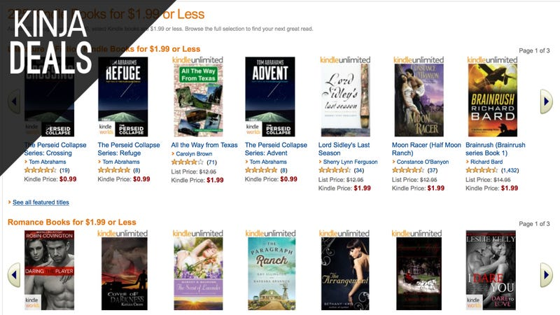 Illustration for article titled Amazon Just Discounted Over 200 Kindle Books to $1-$2 Each