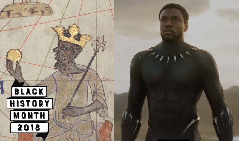 Fourteenth-century drawing of Mansa Musa (Wikimedia Commons); Black Panther (Marvel)