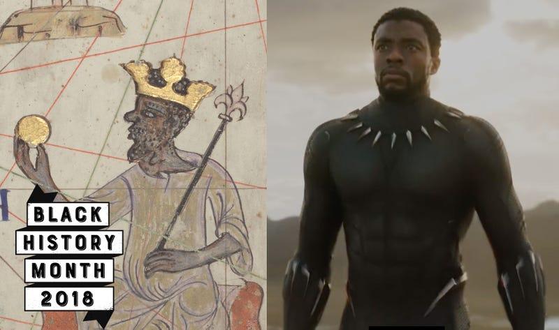 Fourteenth-century drawing of Mansa Musa (Wikimedia Commons); Black Panther (Marvel)