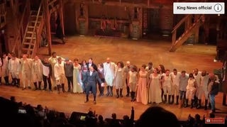 Actor Brandon Victor Dixon addressing Mike Pence after the curtain call  of Hamilton on Broadway, Nov. 18, 2016, in New York City. YouTube Screenshot