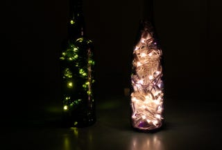have some christmas lights you just didnt get around to hanging turn them into some ambient lighting with a wine bottle and some tinkering
