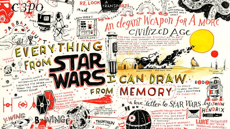 Illustration for article titled This Entire Awesome Star Wars Poster Was Illustrated From Memory