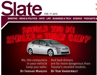 Illustration for article titled Slate Weighs In, Predictably, On Toyota