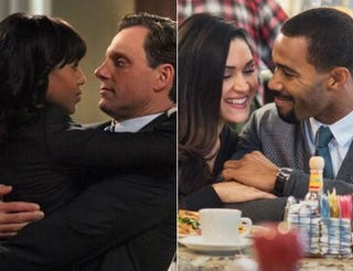 Kerry Washington and Tony Goldwyn in a scene from Scandal; Lela Loren and Omari Hardwick in a scene from PowerIMDB