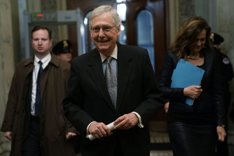 "Senate Majority Leader Sen. Mitch McConnell (R-KY) returns to the U.S. Capitol from a meeting at the White House January 9, 2019 in Washington, DC. President Trump walked out of a meeting with congressional leaders at the White House negotiating border security funding and government shutdown, calling it ""a total waste of time."""