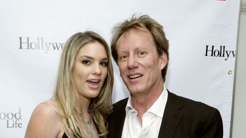 Here is a picture of James Woods with a woman named Ashley Madison. Seriously, that's her name. (Photo: Getty Images)