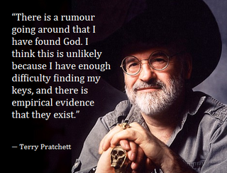 Illustration for article titled Despite his worseing condition, Terry Pratchett has not found God...