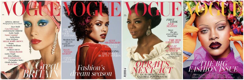 Adwoa Aboah (December 2017); Gugu Mbatha-Raw (April 2018); Oprah (August 2018); Rihanna (September 2018)