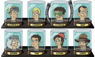 Illustration for article titled Fiction's favorite doctors get their heads stuck in Futurama's jars