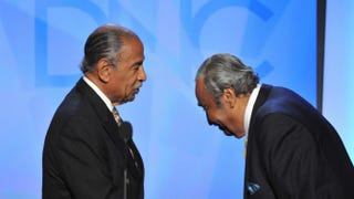Rep. Charles Rangel (D-N.Y.) (right) greets fellow Rep. John Conyers (D-Mich.) onstage during the Democratic National Convention in Denver Aug. 26, 2008.Paul J. Richards/AFP/Getty Images
