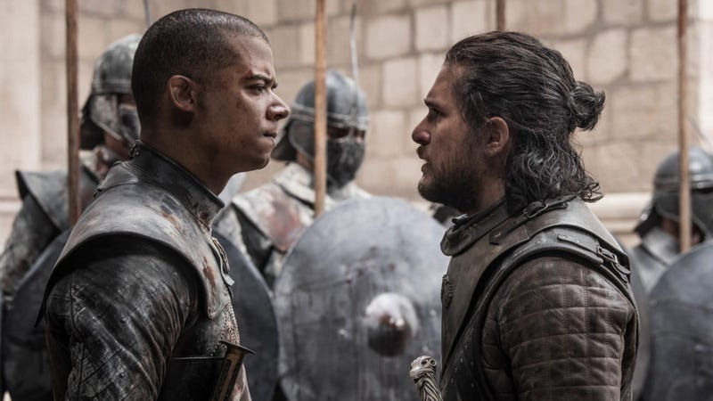 Grey Worm (Jacob Anderson) and Jon Snow (Kit Harington) in the Game of Thrones series finale.