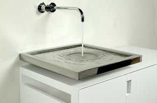 mysterious axolute sink works without a drainpipe. Black Bedroom Furniture Sets. Home Design Ideas