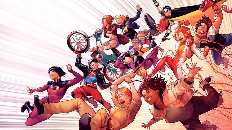 Wonder Comics teaser art featuring Naomi, the Wonder Twins, Dial H for Heroes, and the original Young Justice.