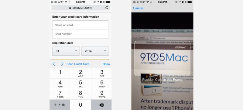 Illustration for article titled iOS 8 Lets You Scan Your Credit Card With Your Camera Instead of Typing