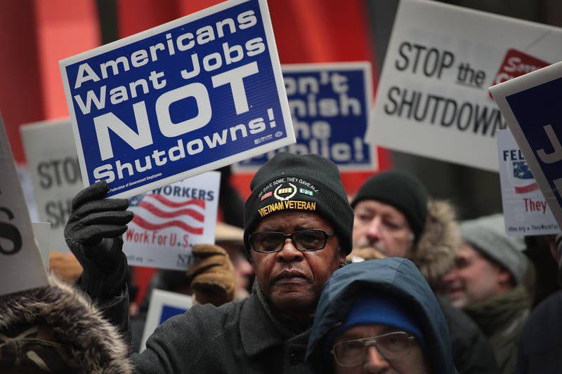 Government workers protest the government shutdown during a demonstration in the Federal Building Plaza on January 10, 2019 in Chicago, Illinois. The protest, on the 20th day of a partial shutdown, was one of several held around the country today.