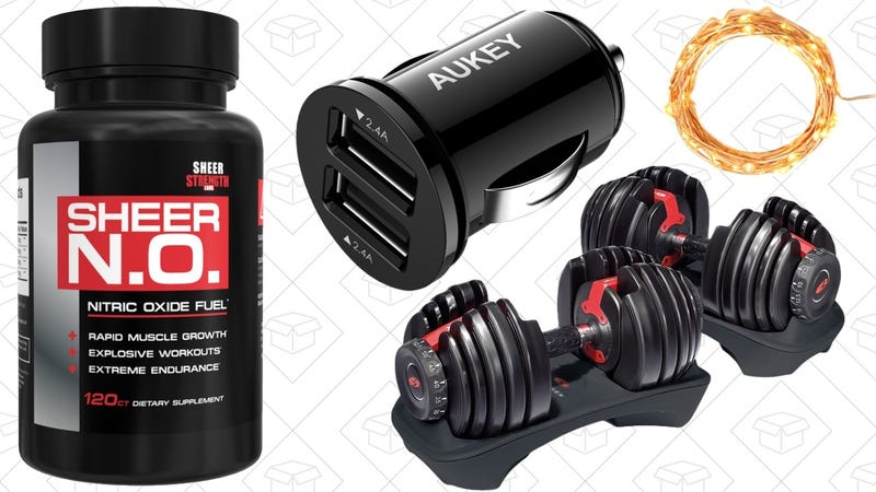 Illustration for article titled Today's Best Deals: The Smallest Car Charger, Adjustable Dumbbells, Short Novels, and More