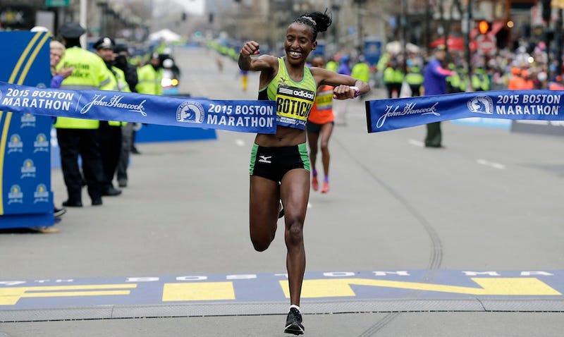 Illustration for article titled Kenyan Woman Wins Boston Marathon Before West Coast Puts On Pants