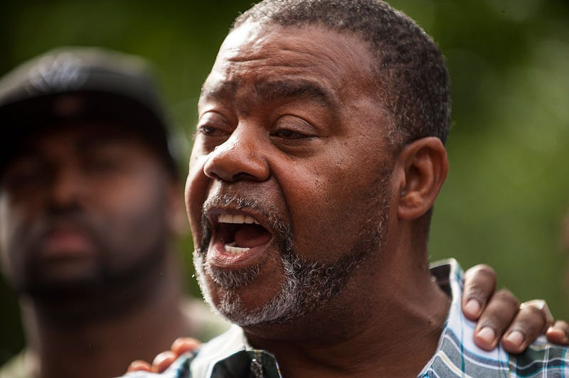 Clarence D. Castile, uncle of Philando Castile, speaks outside the Governor's Mansion in St. Paul, Minn., on July 7, 2016.Stephen Maturen/Getty Images