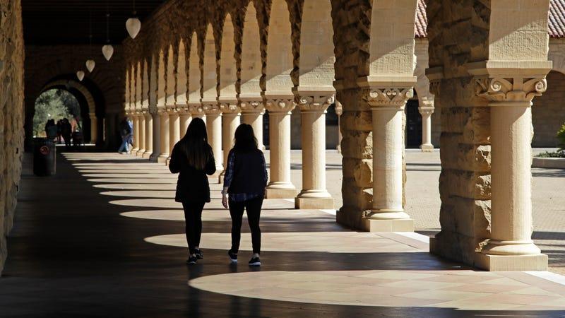 Students at Stanford University campus in Santa Clara, California.