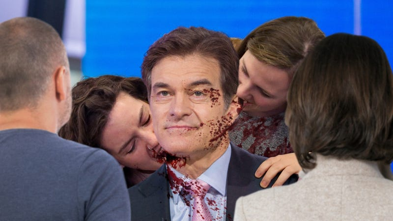 Illustration for article titled Amazing Sacrifice: A Trembling Dr. Oz Allowed The Audience To Consume Him After Realizing That His Body Is The Ultimate Superfood