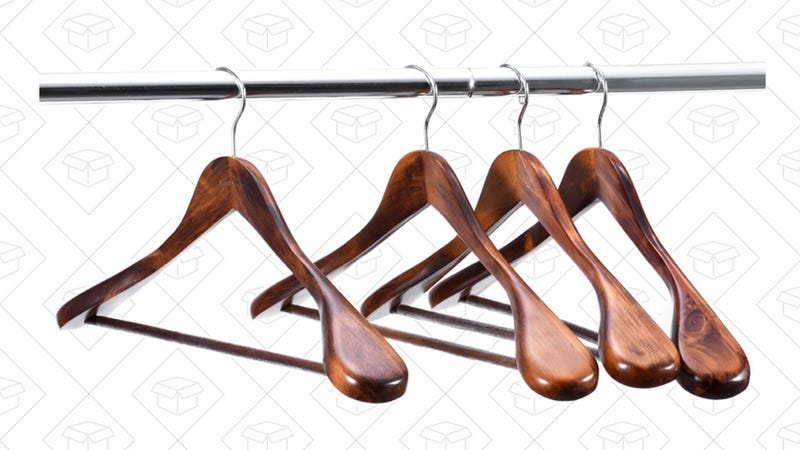 Royalhanger 6-Pack Extra Wide Shoulder Wooden Hangers, $18 with code 6ZKLOAP4