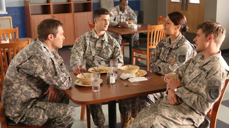 Geoff Stults (left), Parker Young, Angelique Cabral, Chris Lowell (Fox)