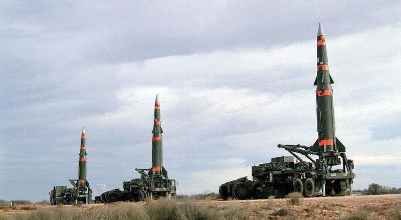 Pershing II intermediate range ballistic missiles.