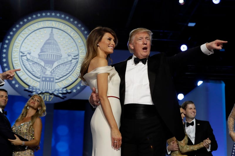 President Donald Trump with the First Lady at the Freedom Ball, Friday, January 20, 2017, in Washington (AP Photo/Evan Vucci)