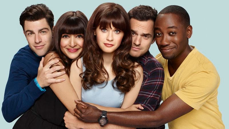 Max Greenfield (left), Hannah Simone, Zooey Deschanel, Jake Johnson, Lamorne Morris (Photo: Brian Bowen Smith/FOX)
