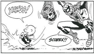Illustration for article titled Charlie Brown finally kicks the football, with a little help from Spider-Man