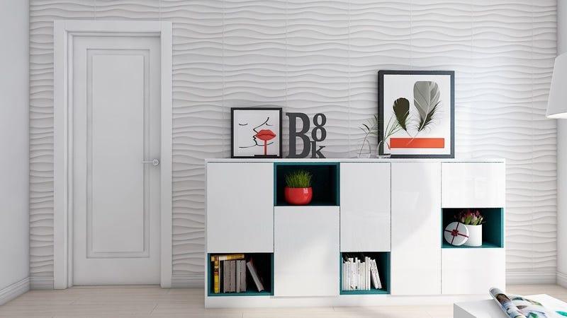 Art3d Plastic 3D Wall Panel PVC Wave Wall Design, White (12 Pack) | $59 | Amazon