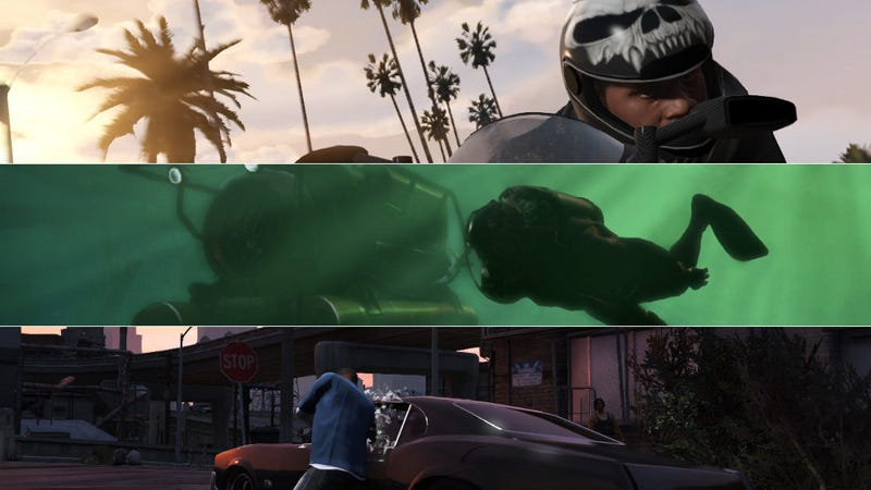 Illustration for article titled New GTA V Screenshots Show Chases, Car Theft, Deep Sea Adventures