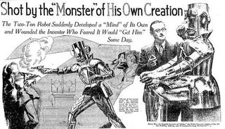 "Illustration for article titled The ""true story"" of a robot who shot his creator in 1932"