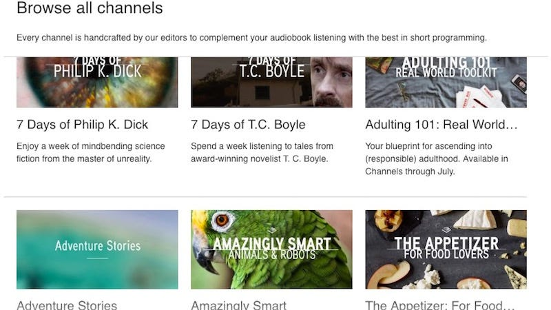 Illustration for article titled Audible's Channels Service Reads the News Aloud, Offers Premium Podcasts, and More