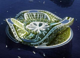 Illustration for article titled Architect Dreams Up Lilypad: Floating City Ark for Eco-Refugees