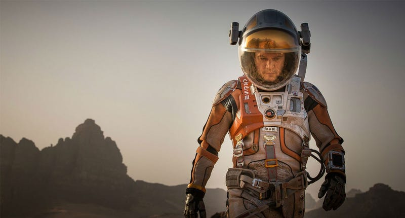 Matt Damon in The Martian, based on the book by Andy Weir. Image: Fox