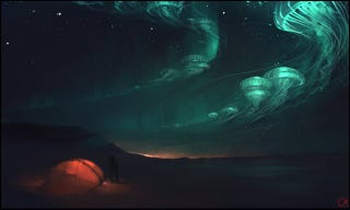 Illustration for article titled The Jellyfish Borealis Is The Most Striking Sight In The Alien Sky