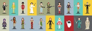 Illustration for article titled Can you recognize all the famous movie heroines in this neat poster?