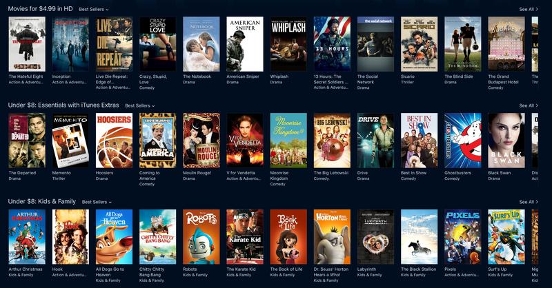 iTunes Movie Sale