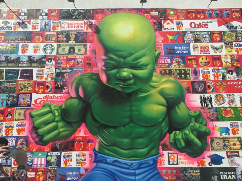 Illustration for article titled This Disturbingly Amazing Baby Hulk Mural Just Went Up in New York City