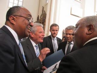Charles Steele Jr. (far left), standing among leaders, including German President Joachim Gauck and SCLC Chairman Bernard LaFayette, Sept. 14, 2014.Keisha Ray/SCLC