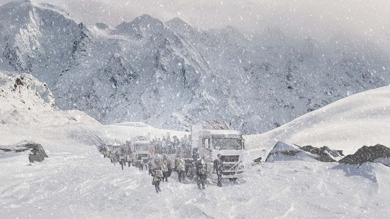 Illustration for article titled Broncos Follow Super Bowl Parade Route Through Treacherous Rocky Mountain Pass