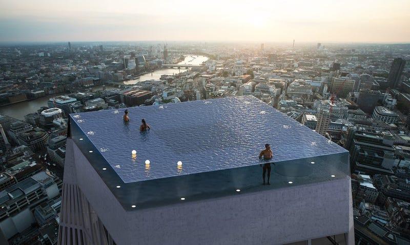 Illustration for article titled Esta sería la primera piscina infinita de 360 grados sobre un rascacielos, y lo mejor es dónde estará la entrada