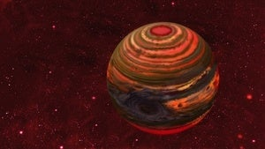Illustration for article titled Failed star is home to gigantic super-storm