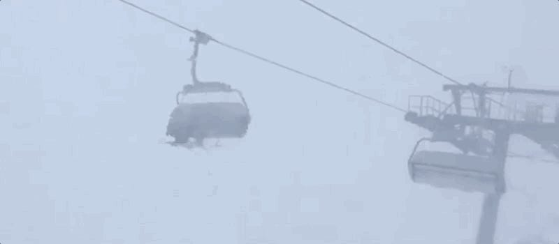 Terrifying Video Shows People Trapped On Swinging Ski Lift