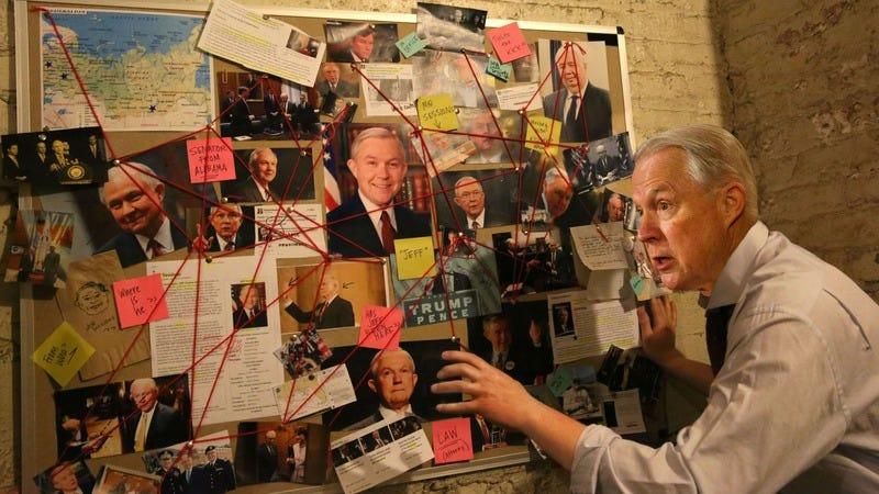 Illustration for article titled Going Rogue: Jeff Sessions Is Continuing To Pore Over A Corkboard Of Interconnected Pictures Of Himself Even After Being Taken Off The Case
