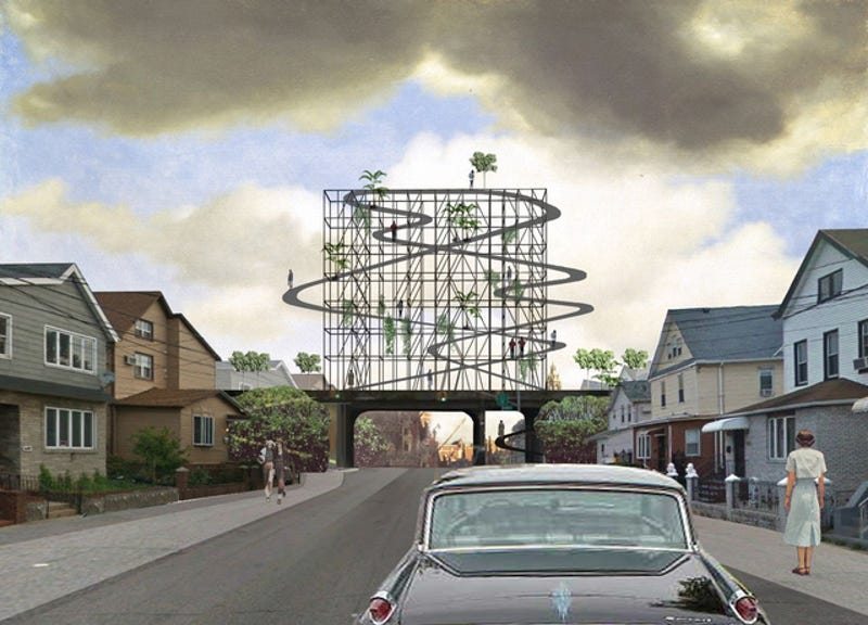 Illustration for article titled The New High Line for Queens Could Include This Human Roller Coaster