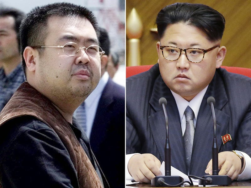 Left: Kim Jong-nam, killed in a Malaysian airport this week. Right: North Korean dictator Kim Jong-un, his brother. Photos credit AP