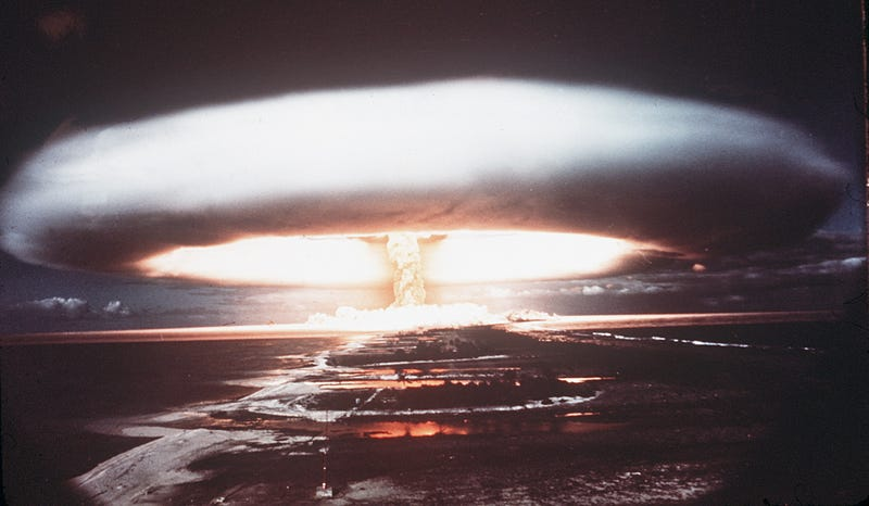 MURUROA ATOLL, FRANCE: Picture taken in 1971, showing a nuclear explosion in Mururoa atoll. (Photo credit should read AFP/Getty Images)